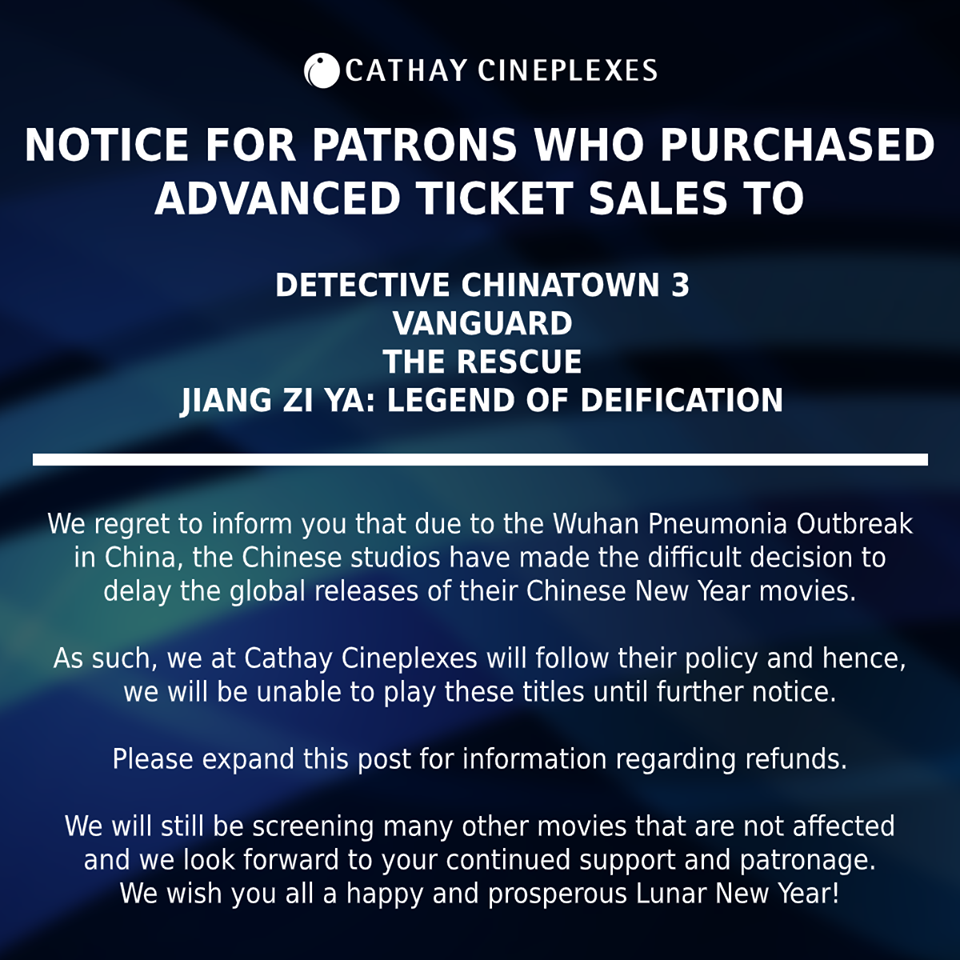 Cathay Cineplexes' posted on its Facebook page about the cancellation of movie screenings due to the Coronavirus and details about how to get refunds. Photo Courtesy: Cathay Cineplex FB