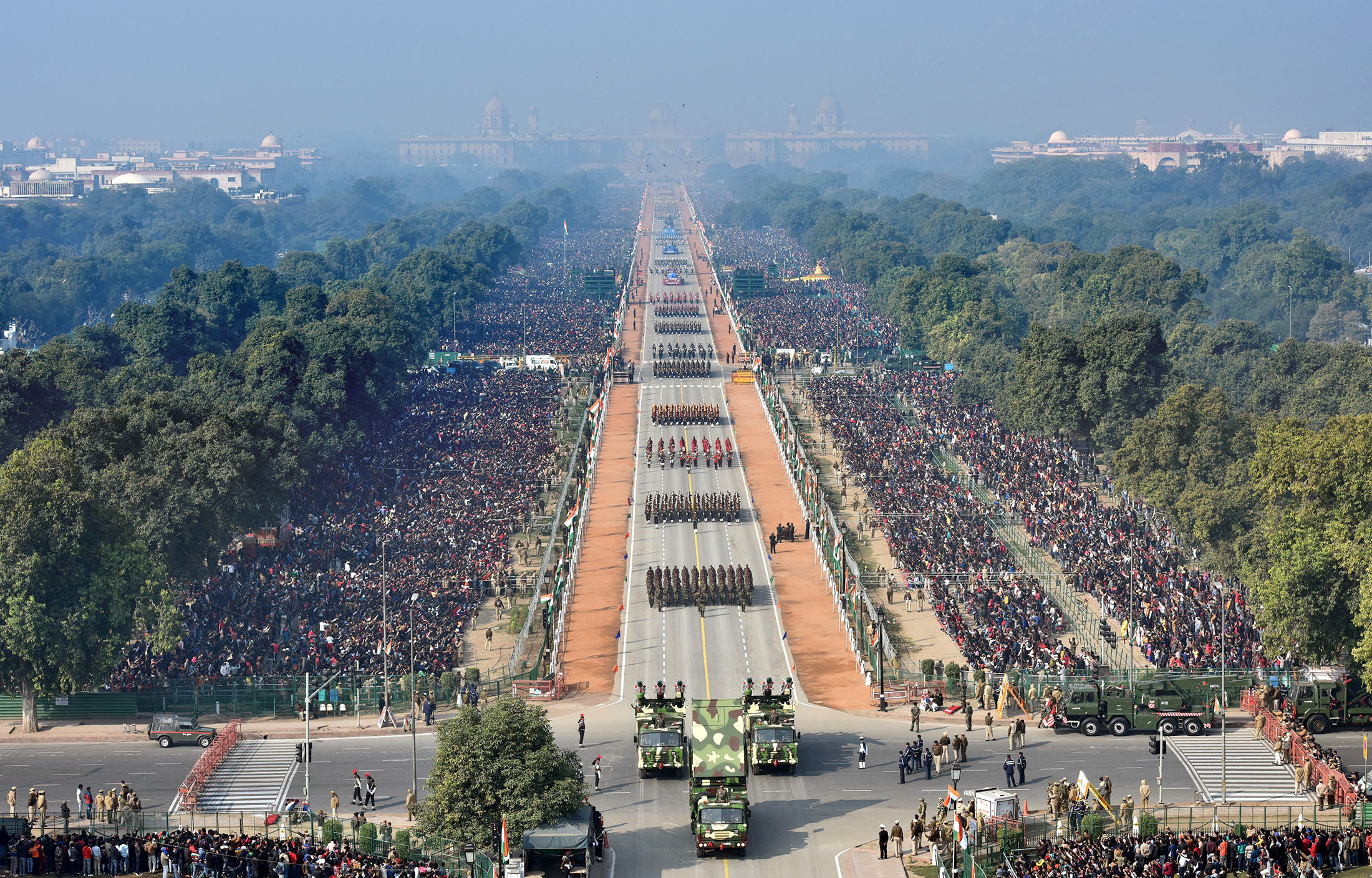 A bird's eye view of Rajpath, at the 71st Republic Day Celebrations, in New Delhi on January 26, 2020.