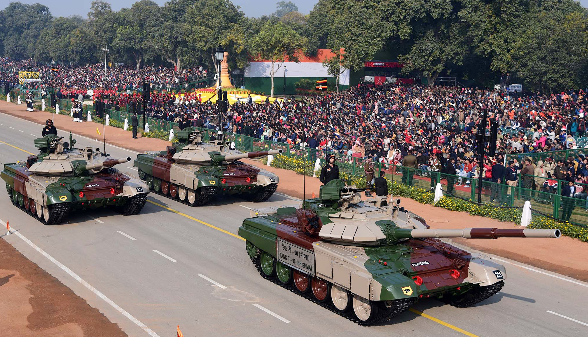 Tank T- 90 (Bhishma) passes through the Rajpath, at the 71st Republic Day Celebrations