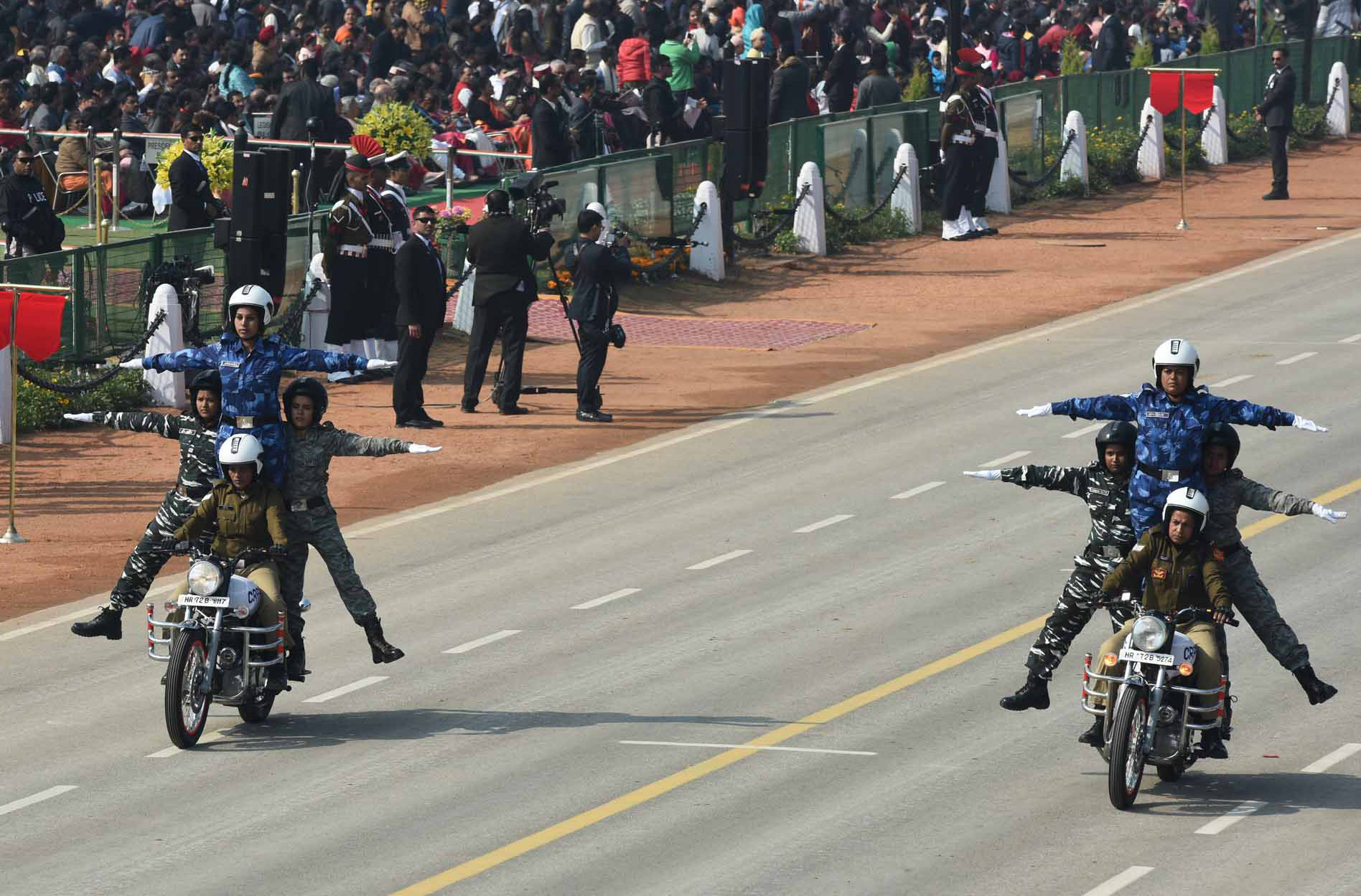 A contingent of CRPF women bikers - including an act by 21 of them on five motorcycles - made history performing daredevil stunts.