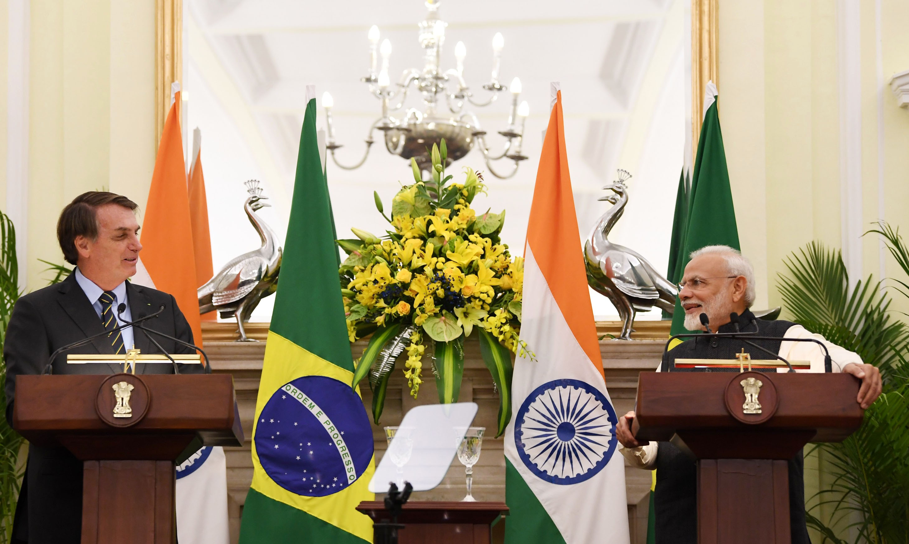 Prime Minister, Shri Narendra Modi and the President of the Federative Republic of Brazil, Mr. Jair Messias Bolsonaro at the Joint Press Statements, at Hyderabad House, in New Delhi