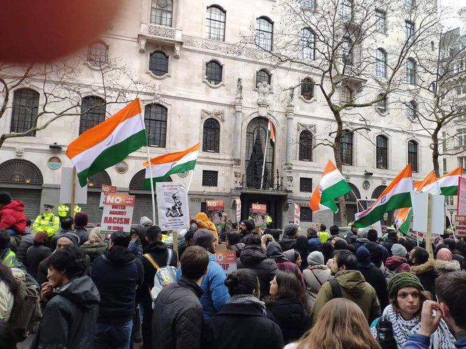 The protesters, describing themselves as representative of diverse and multi-faith Indian communities across the UK