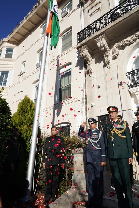 India's 71st Republic Day was celebrated in Washington, with Charge d'affaires at the Indian Embassy, Amit Kumar, unfurling the tricolour and reading out President Ram Nath Kovind's Republic Day address.