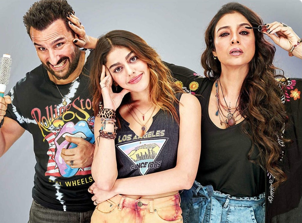 Tabu, Saif and Alaya as the mom, dad and daughter trio look amazing in Jawani Jaaneman which is almost entirely shot in London. Photo Courtesy: Twitter