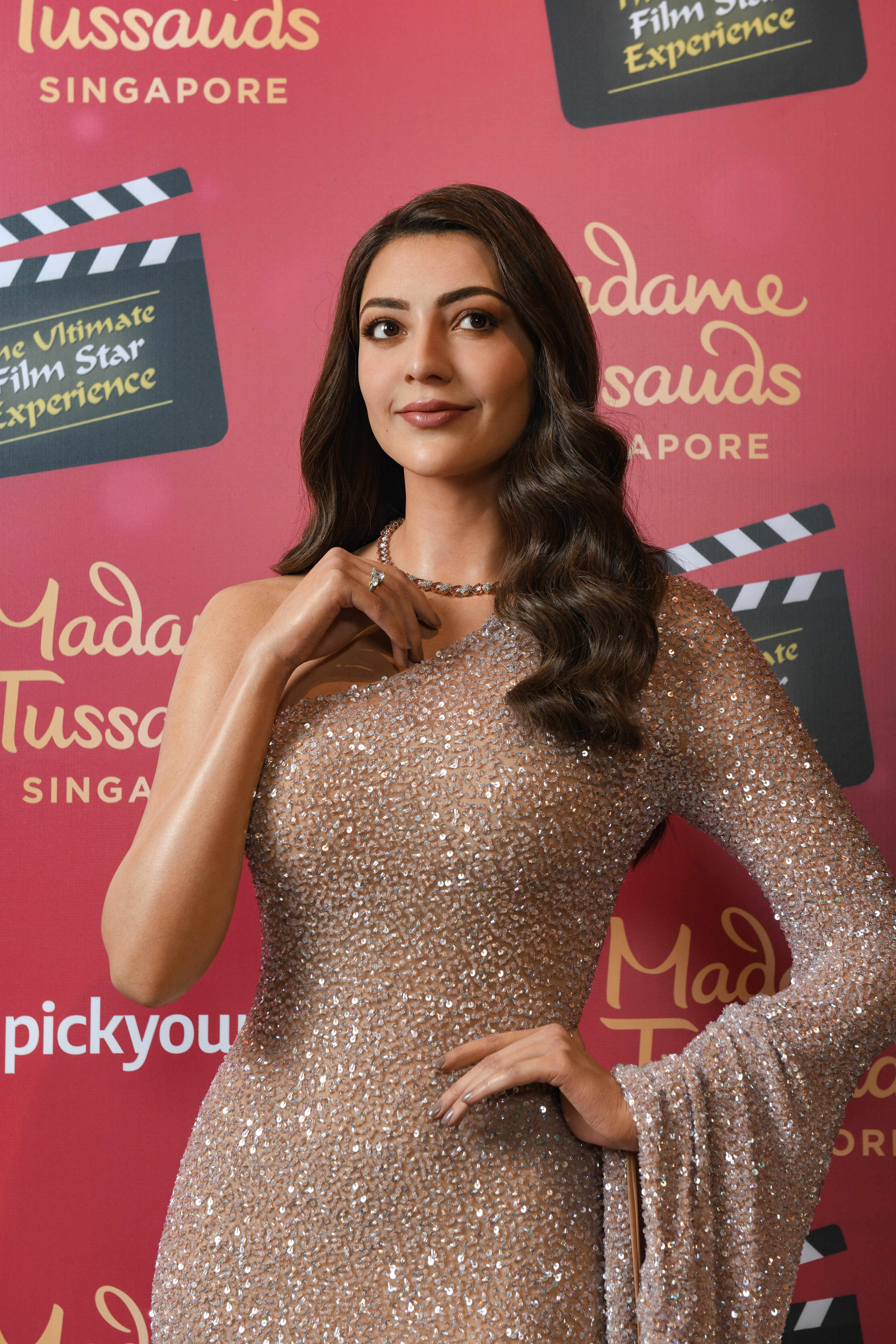 Kajal Aggarwal's specially designed costume for her newly unveiled wax figure at Madame Tussauds Singapore is laden with Swarowski crystals and weighs a close to 8 kilograms. Photo Courtesy: Madame Toussauds, Singapore