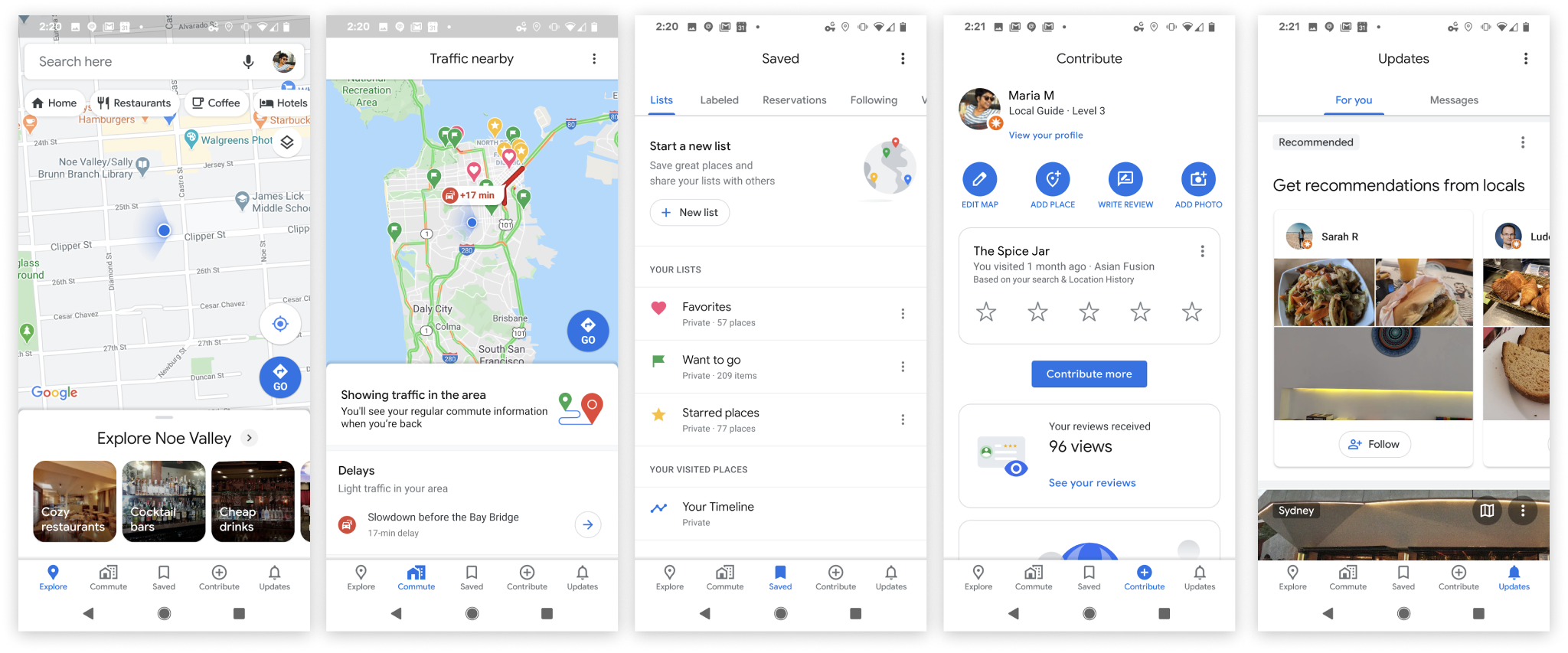 In celebration of its 15th anniversary, Google has added five easy-to-access tabs: Explore, Commute, Saved, Contribute and Updates. Photo courtesy: Google