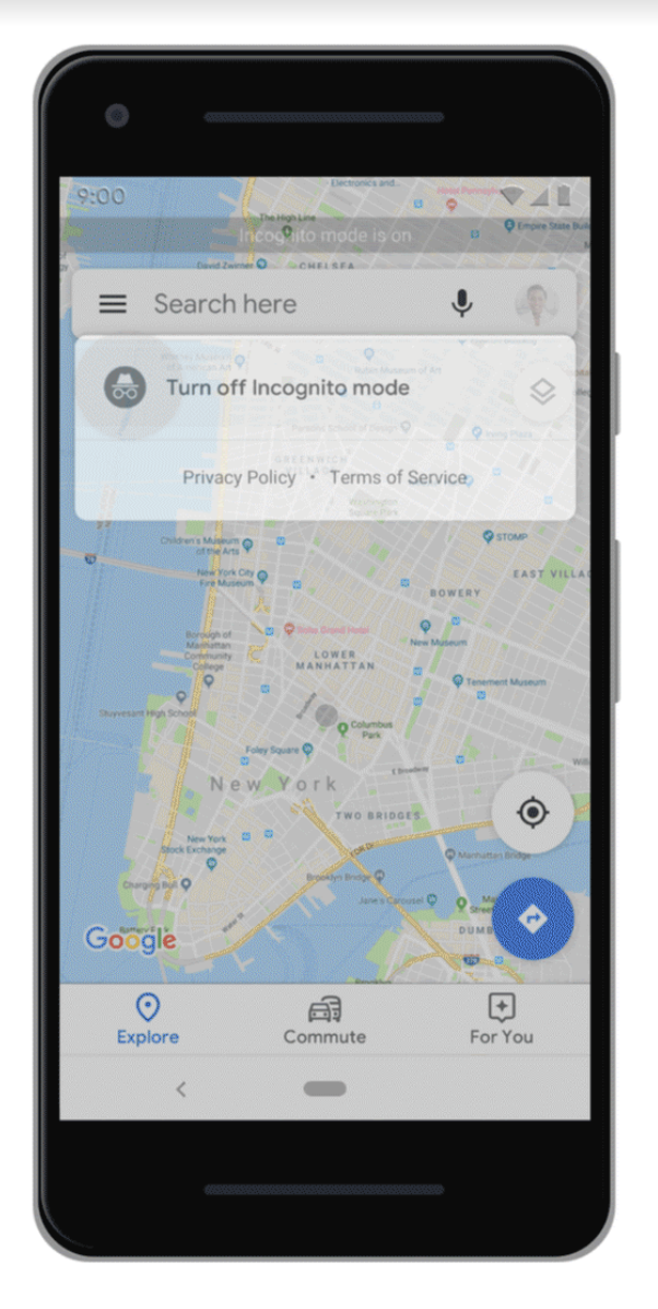 Use Incognito Mode to stop searches and places you navigate to on Google Maps from being saved to your account. Photo courtesy: Google