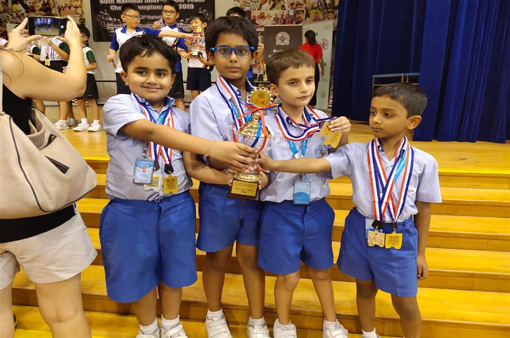 Nivaan (first from left) was part of the GIIS SMART Campus team that won the first place in the International Under-8 category and overall second place in the 60th National Inter-School Team Chess Championship 2019. Photo courtesy: GIIS