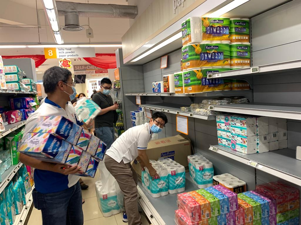 Singapore entered DORSCON Orange on Friday, February 7, which sparked off panic buying of food and daily necessities – including toilet paper. Photo courtesy: NTUC Fairprice