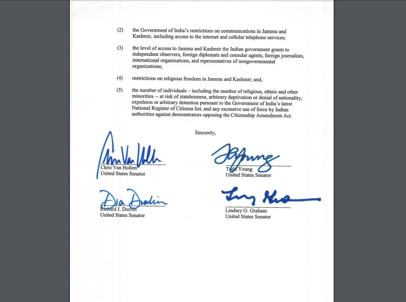 Letter written by four US Senators to Secretary of State Mike Pompeo. Courtesy: www.vanhollen.senate.gov