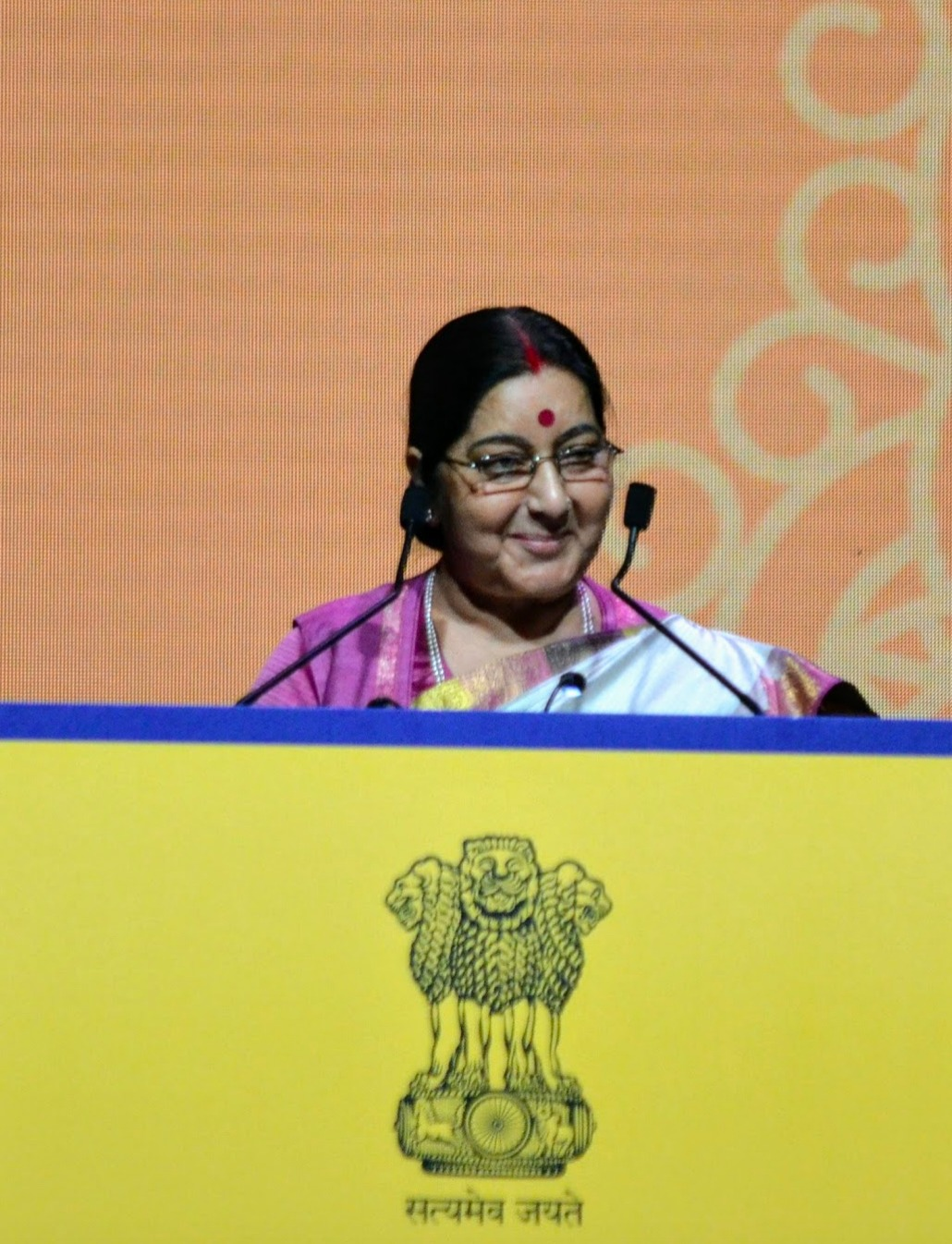 Former EAM, the late Sushma Swaraj speaking to the Indian diaspora during the Pravasi Bharatiya Divas in Singapore in 2018. File photo courtesy: Connected to India