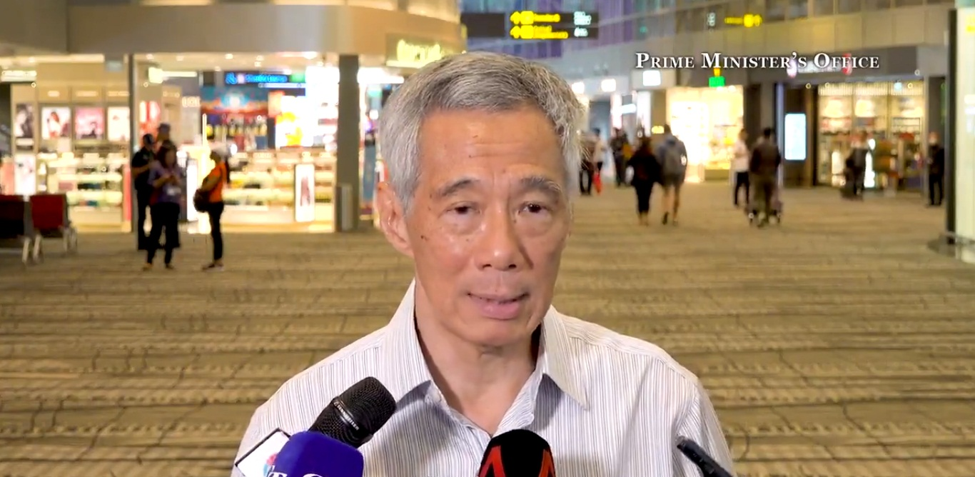 PM Lee Hsien Loong speaking at Changi Airport Terminal 3 earlier today. Screengrab courtesy: Twitter/@leehsienloong