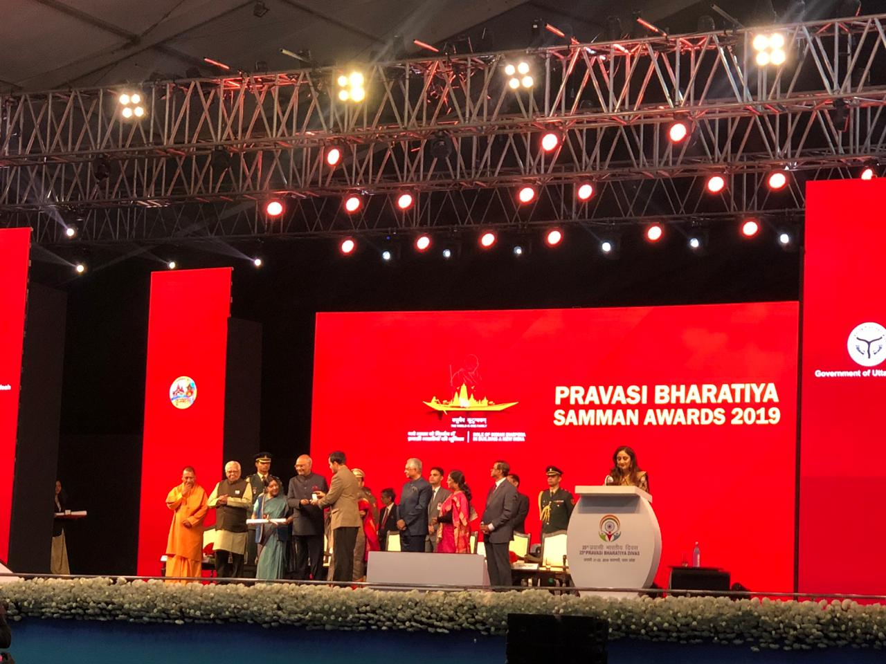 The Pravasi Bharatiya Samman Award is the highest honour given by India to the diaspora across the world. Photo courtesy: Twitter/@PBDConvention
