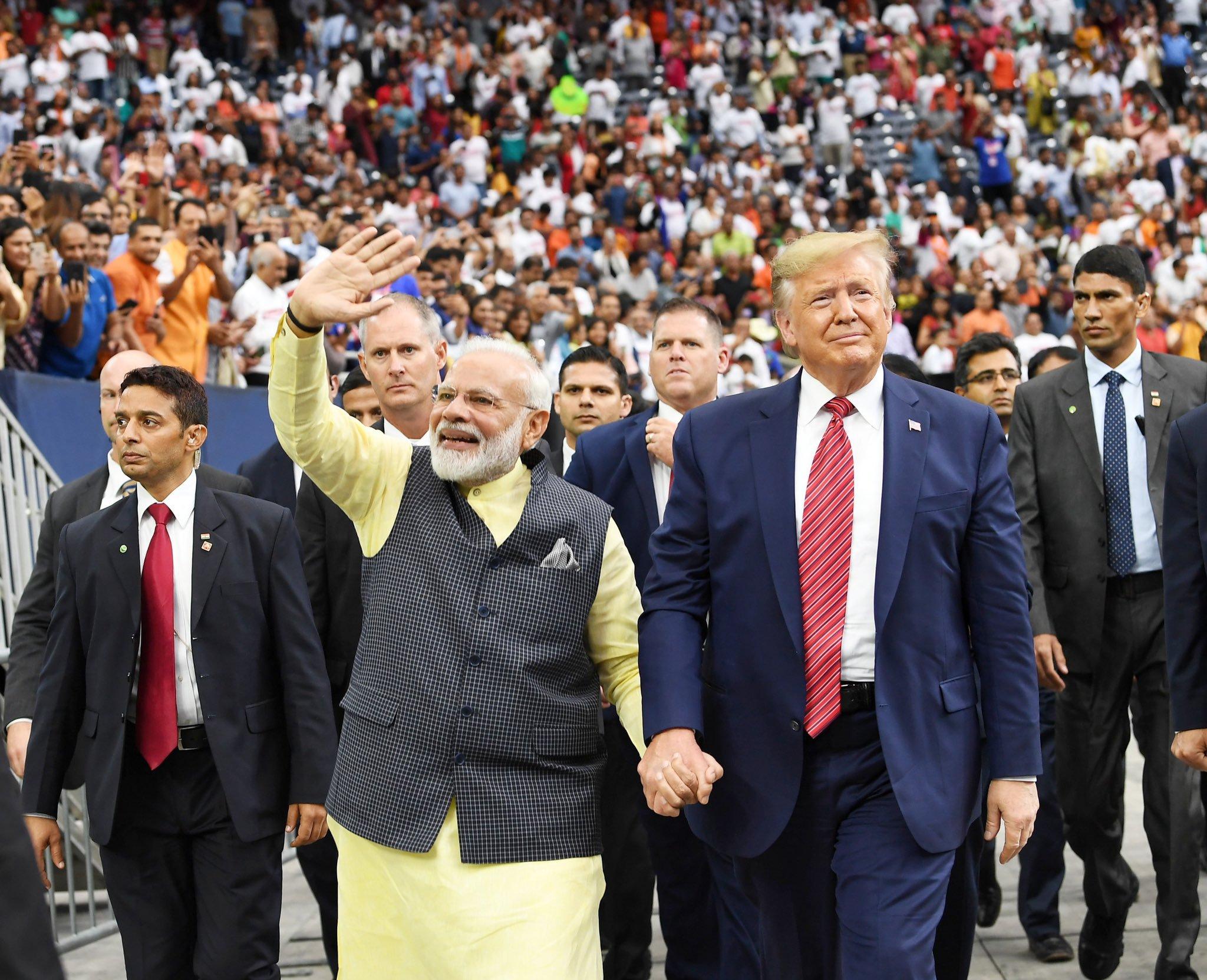 Donald Trump and Narendra Modi greeting the Indian diaspora at the Howdy, Modi event in USA last year. Photo courtesy: Twitter/@narendramodi