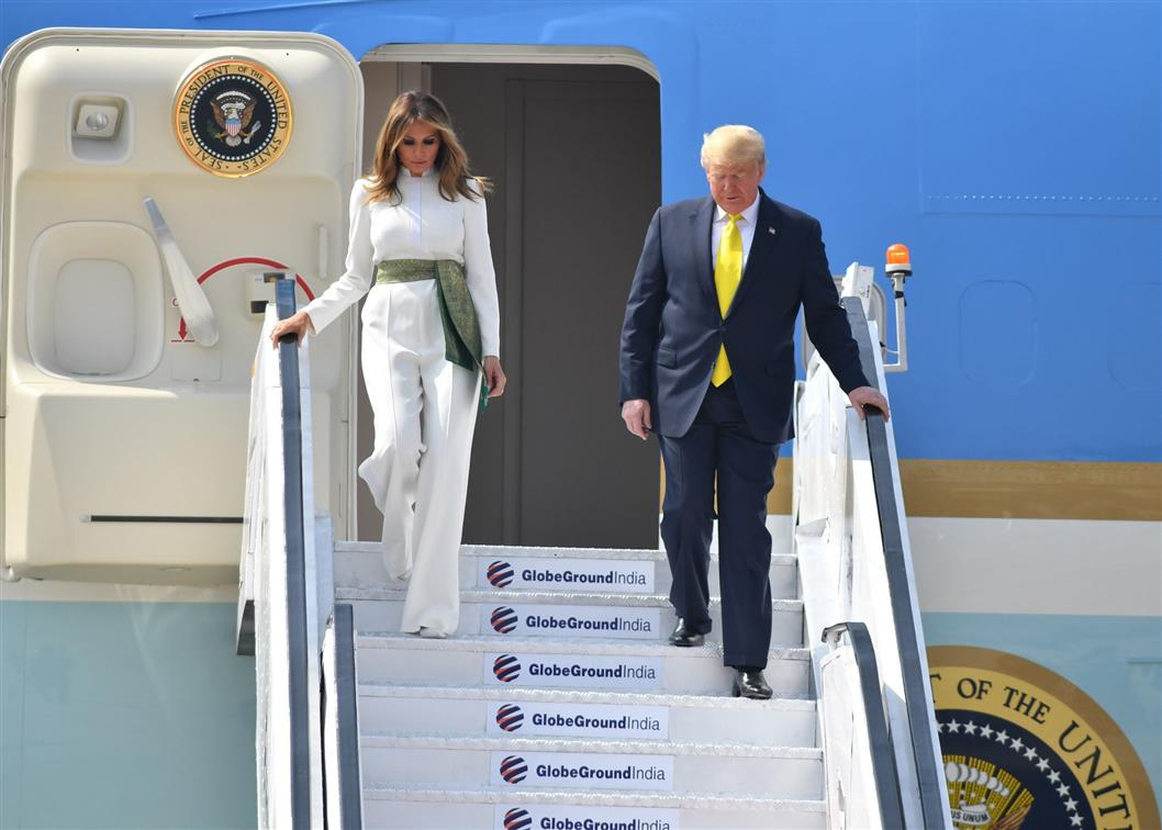 US President Donald Trump and his wife Melania disembarking from Air Force One at Ahemadabad Airport in India on Monday. Photo courtesy: PIB