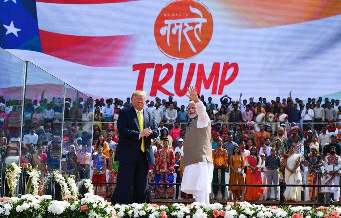 PM Modi and President Trump at the 'Namaste Trump' event at the Motera Cricket Stadium in Ahmedabad. Photo courtesy: Twitter/@realDonaldTrump
