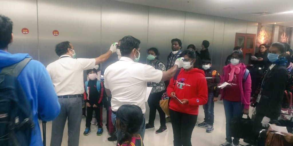 Passengers being screened at Chennai airport. Photo courtesy: Twitter/aaichnairport