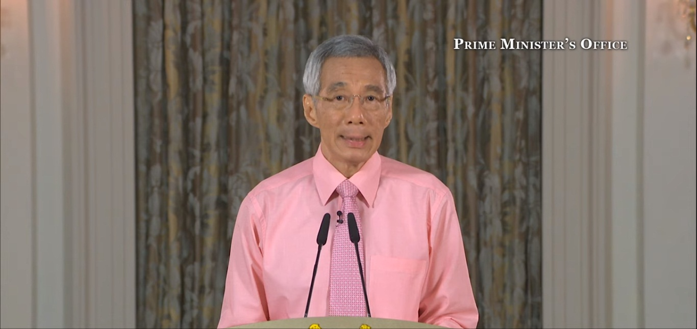 PM Lee addressed the nation on the COVID-19 outbreak this evening. Screengrab courtesy: Prime Minister's Office