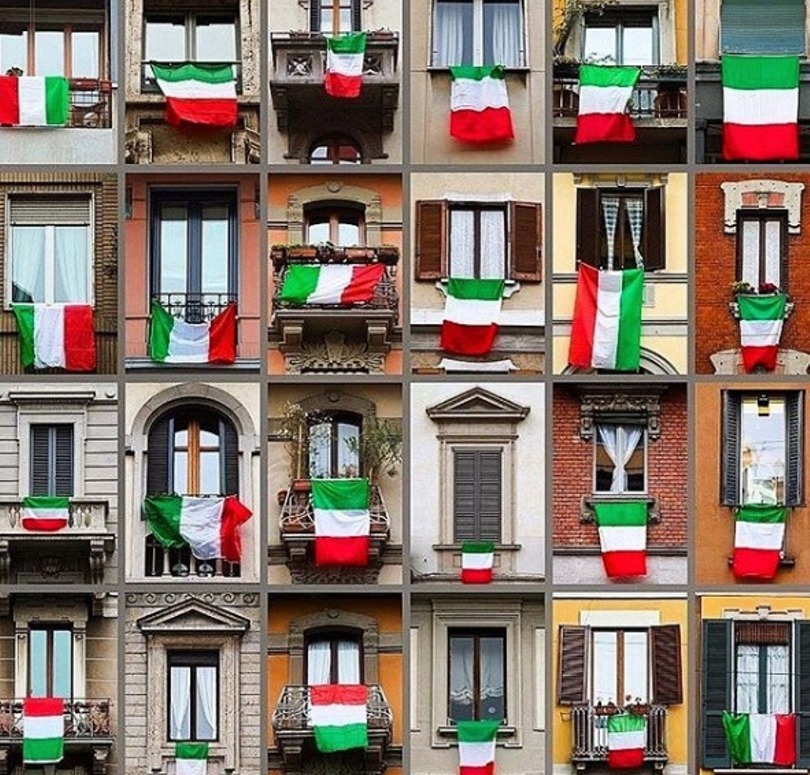 Italians hanging their national flag over the balconies or windows showing that they're okay. Italy is the second worst affected country after China. Photo courtesy: Instagram/gianlucamandelli1