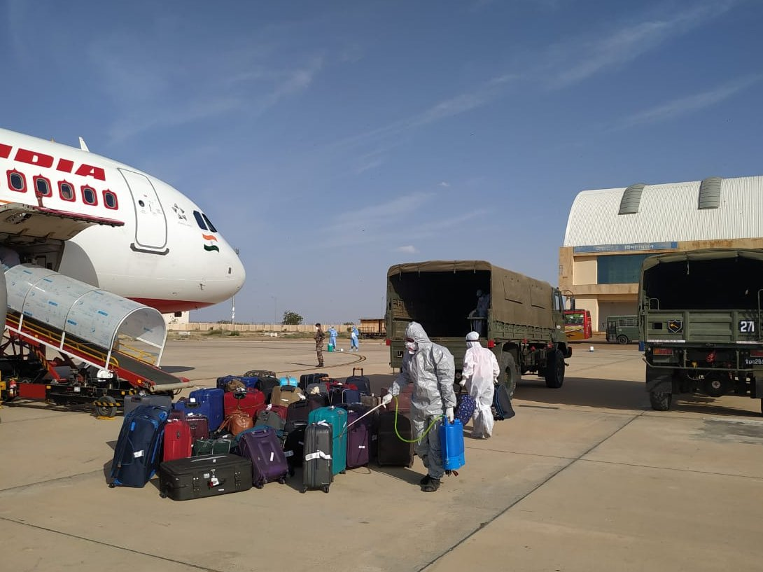 Suitcases of Indian evacuees from Iran being disinfected. Photo courtesy: Twitter/@airnewsalerts