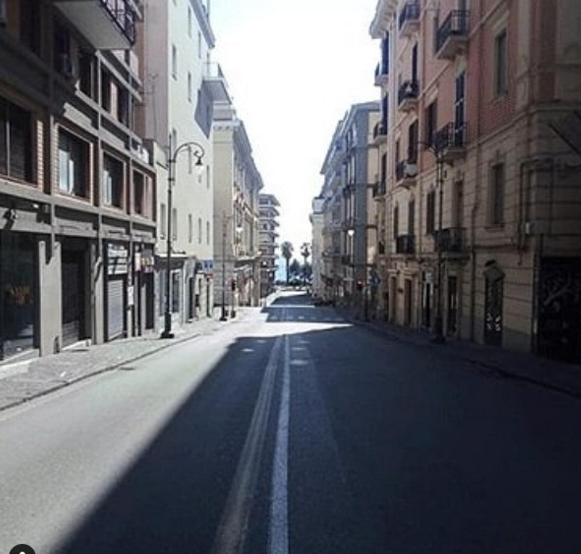 A deserted street in Salerno, Italy. Photo courtesy: Instagram/musicatv.girl