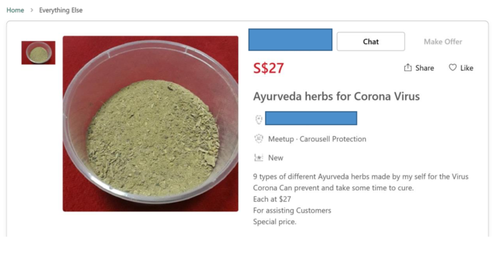 An example of a health product falsely advertised as being able to prevent COVID-19. Photo courtesy: HSA