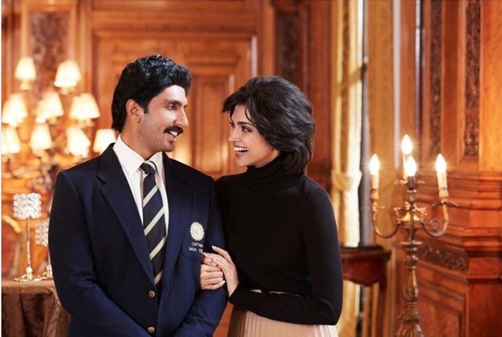 Ranveer stars as skipper Kapil Dev and Deepika Padukone co-stars as Kapil's wife Romi Devi in the movie. Photo Courtesy: Instagram