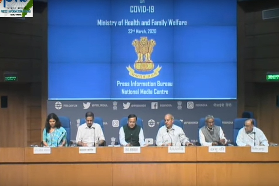 Press briefing on COVID-19 in New Delhi. Screengrab: PIB