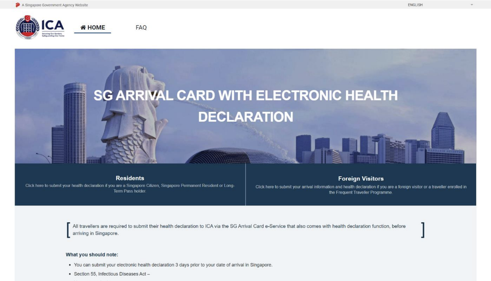 Landing page of SG Arrival Card website. Photo courtesy: ICA