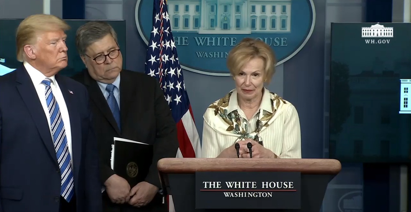 Health expert Dr. Deborah Birx addressing a news briefing on COVID-19 in the US. Screengrab courtesy: Twitter/@WhiteHouse