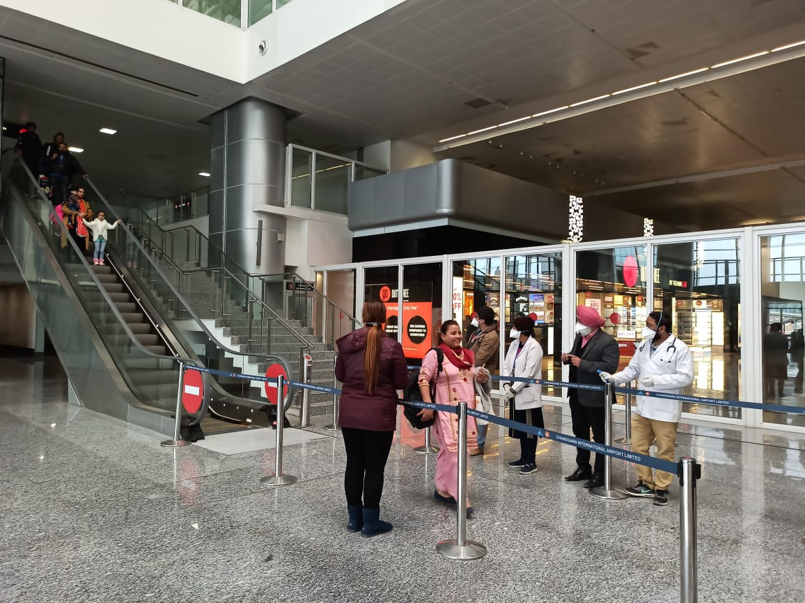 Screening being conducted as passengers arrive. Photo courtesy: Twitter/@IXCairport