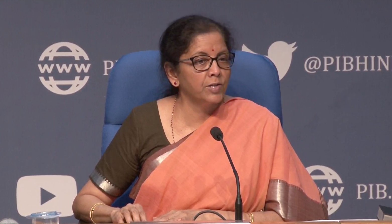 Indian Finance Minister Nirmala Sitharaman announcing a special economic package to help the poor during the COVID-19 outbreak. Photo courtesy: Twitter/@PIBMumbai
