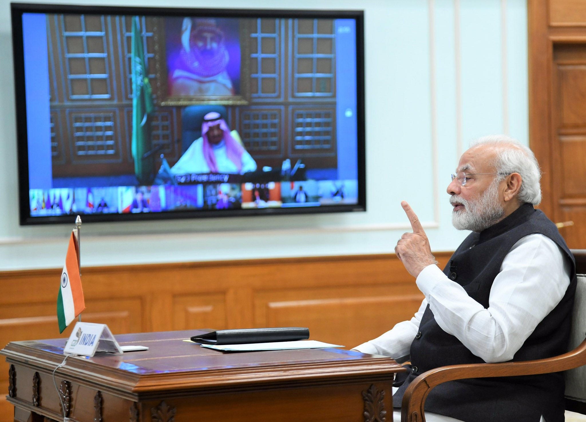 Indian PM Modi calls UAE's Sheikh Mohamed bilaterally after the G20 Virtual Summit. Photo Courtesy MEAIndia Twitter