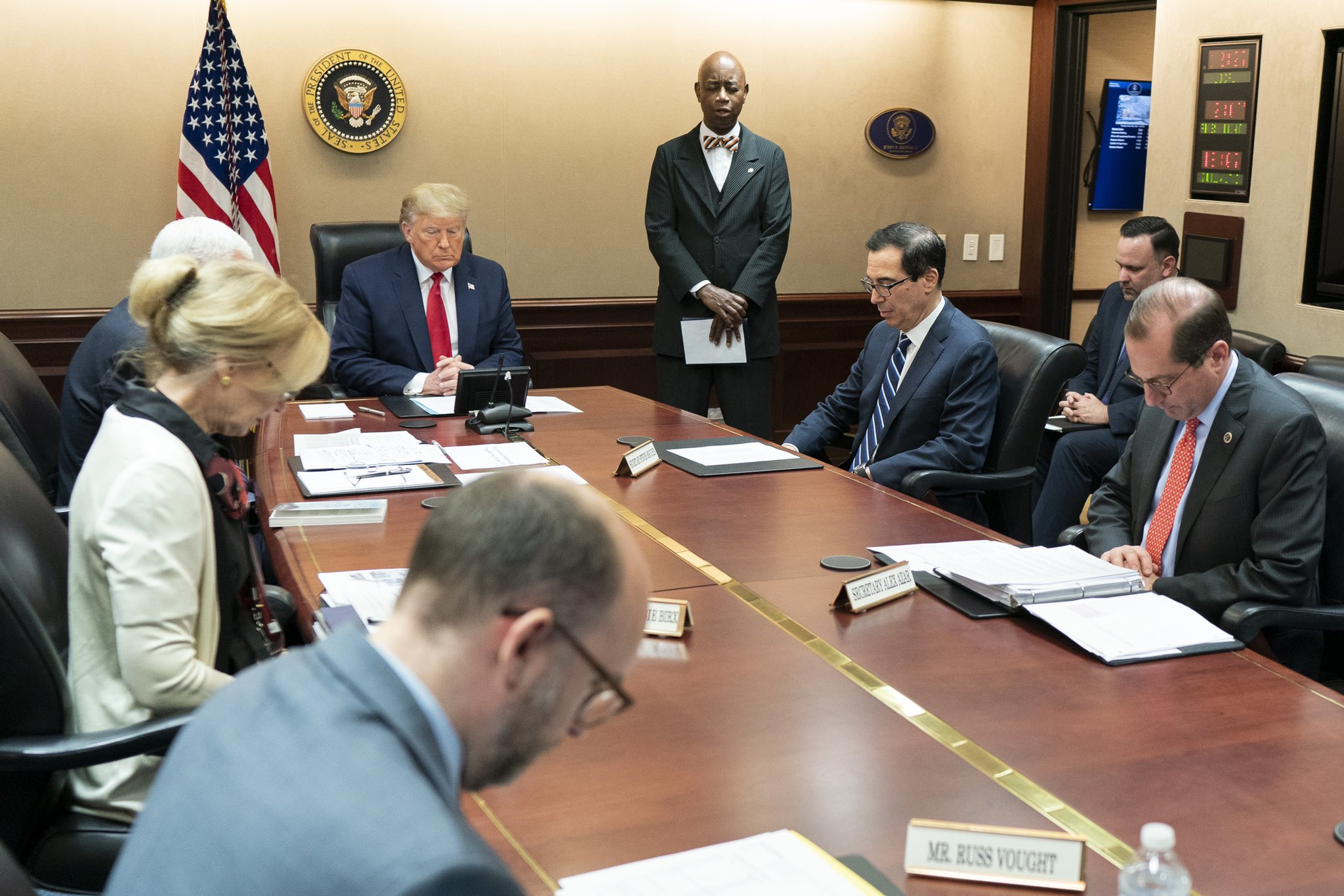 President Donald Trump leading a COVID-19 teleconference call with 50 Governors and Territories. Photo courtesy: Twitter/@WhiteHouse