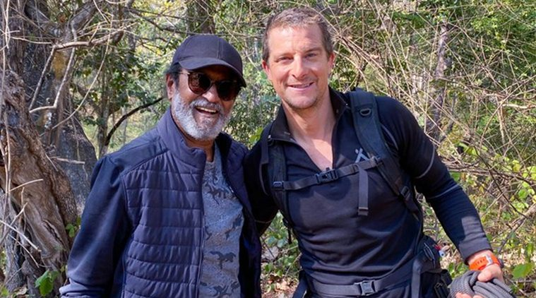 Rajini poses with Bear Grylls during the shooting of the episode. Photo Courtesy: Twitter