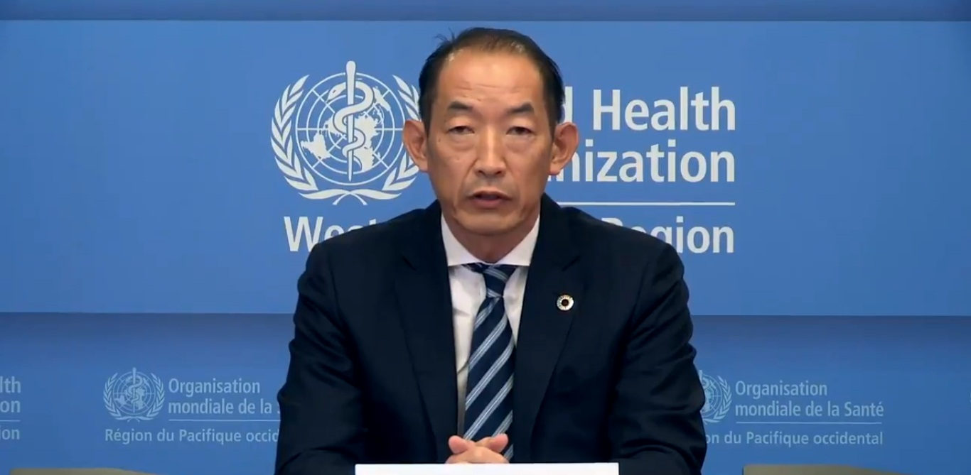 Dr Takeshi Kasai, Regional Director for the Western Pacific at WHO. Screengrab: Twitter/@WHOWPRO