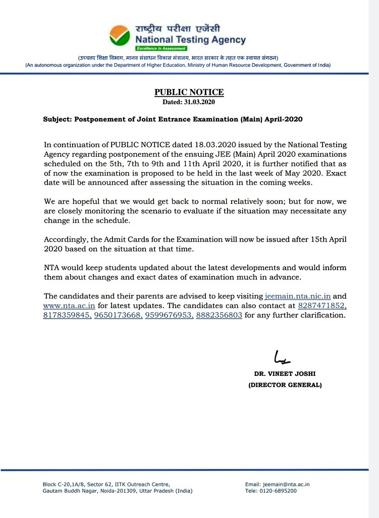 NTA Official Notice of postponement of exams.Photo Courtesy: NTA