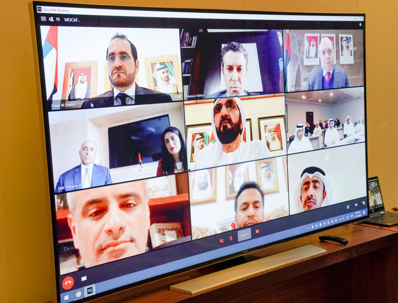 Prime Minister and Vice President of the UAE ​Sheikh Mohammed held a virtual meeting with Minister of Foreign Affairs, Sheikh Abdullah bin Zayed  and a group of UAE's ambassadors yesterday. Photo Courtesy: Twitter