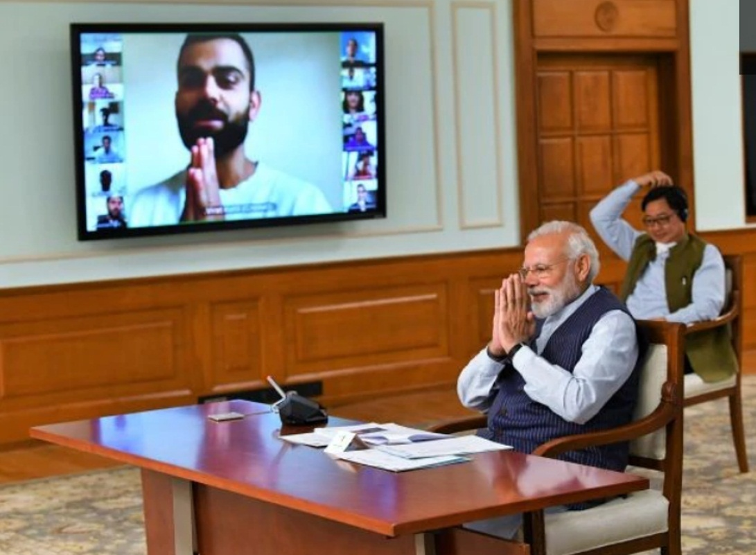 Prime Minister Narendra Modi on Friday held a meeting via video conference with 40 elite sportspersons from India. Photo courtesy: narendramodi.in