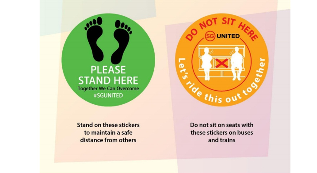 All trains, train stations, buses, bus interchanges and bus stops will be marked with safe distancing stickers. Photo courtesy: www.lta.gov.sg