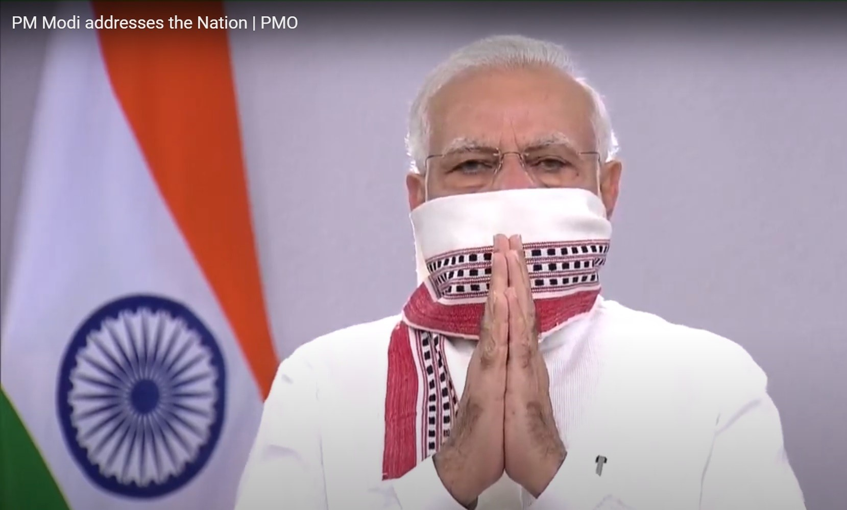 Screengrab from PM Modi's address to the nation.