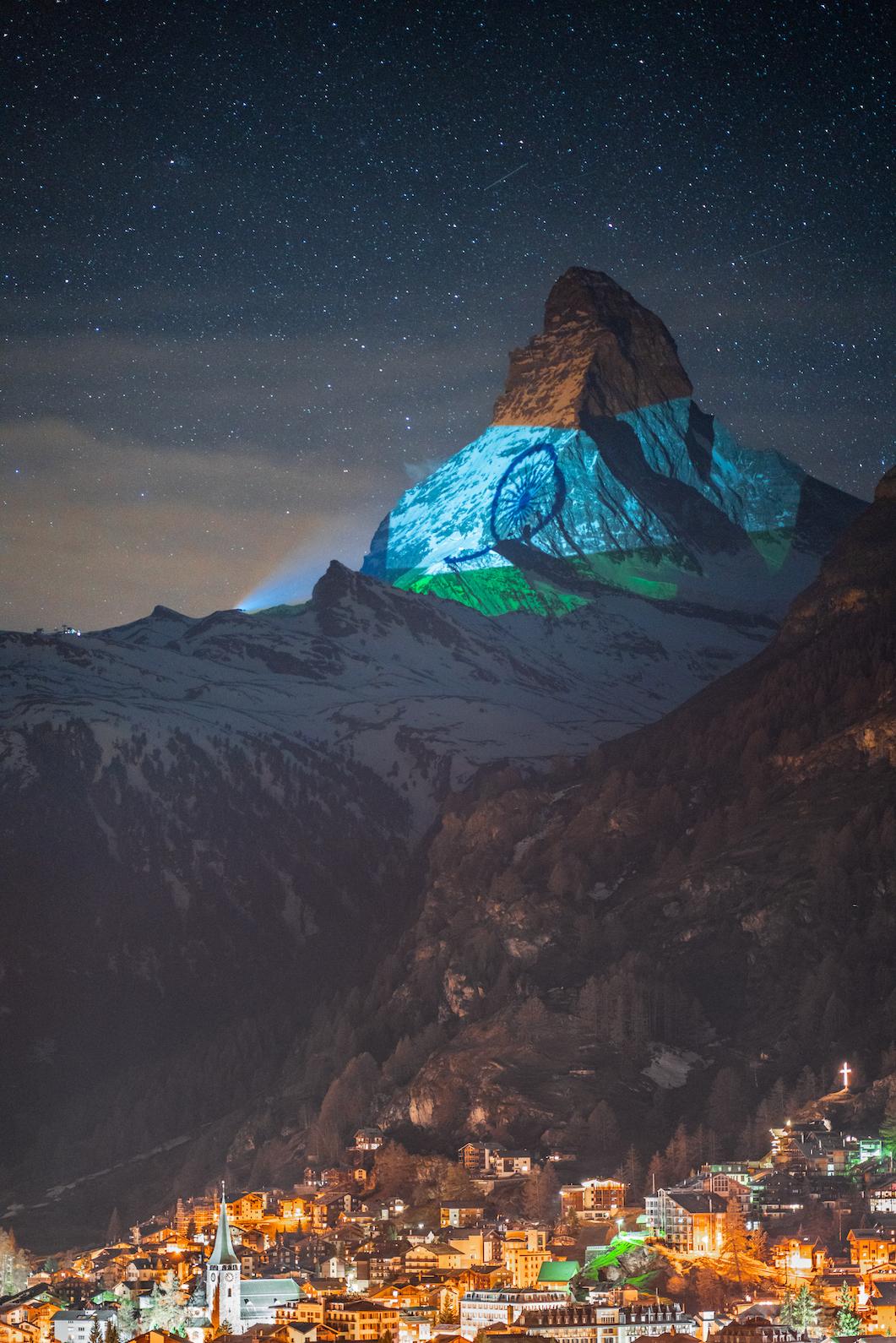 ndian flag projected onto Matterhorn in Zermatt to show solidarity against coronavirus Photo courtesy: Copyrights ©️ Light Art by Gerry Hofstetter | Photograph by Gabriel Perren