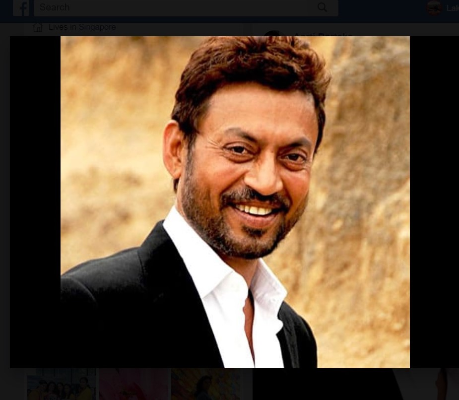 53 year old Bollywood actor Irrfan Khan passed away today in Mumbai. Photo Courtesy: Twitter