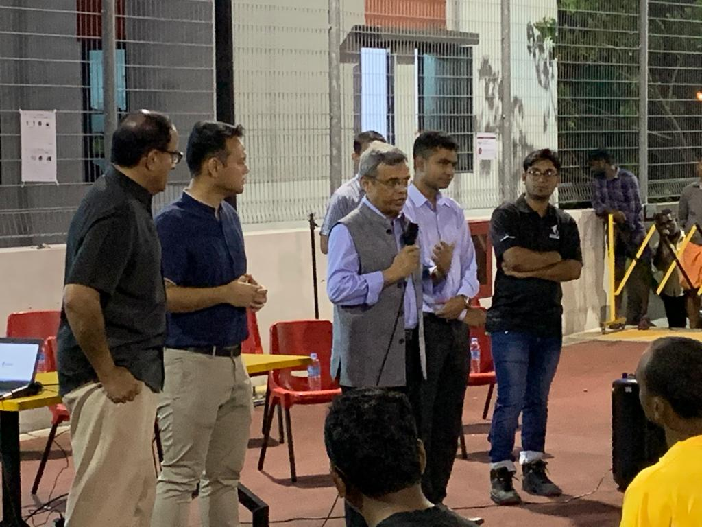 Indian High Commissioner to Singapore Jawed Ashraf at a foreign worker dormitory. Photo courtesy: Twitter/@IndiainSingapore