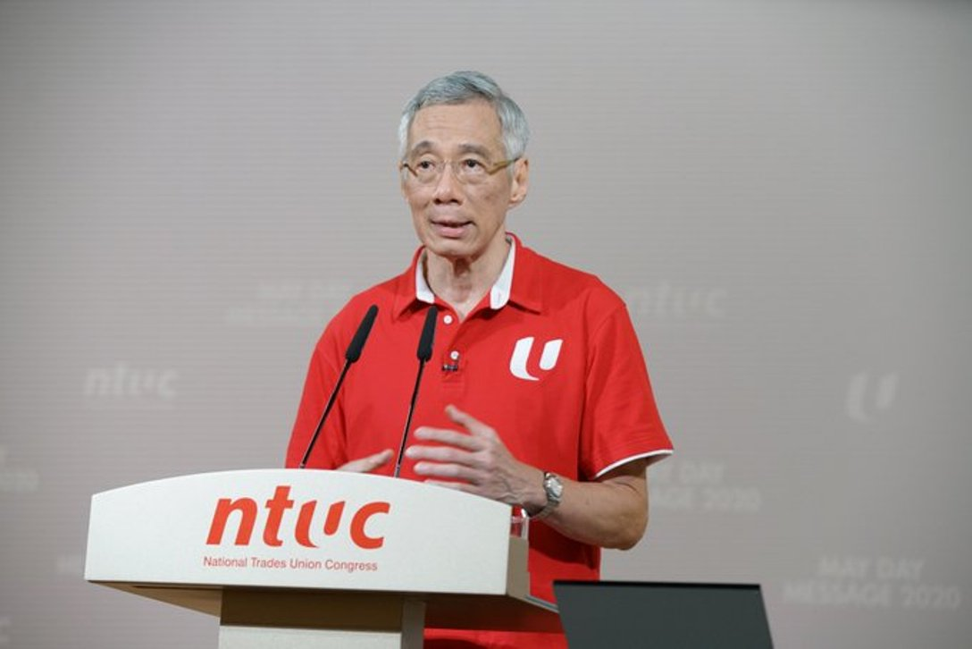 PM Lee said Singapore's economy would have to open up step by step once circuit breaker measures are eased. Photo courtesy: Twitter/@leehsienloong