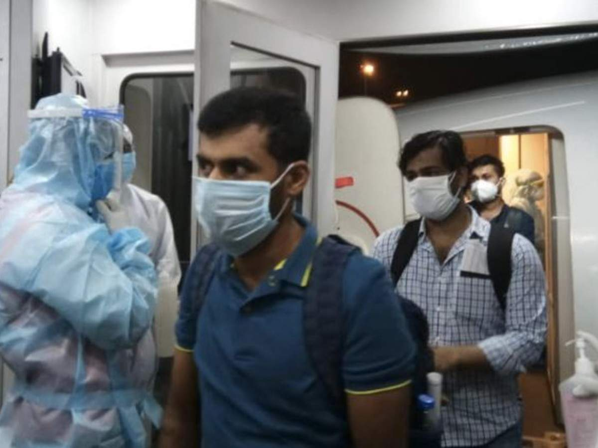 Passengers were greeted with hand sanitizers and by the Air India Express crew in PPE once they boarded the aircraft. Photo Courtesy: Twitter