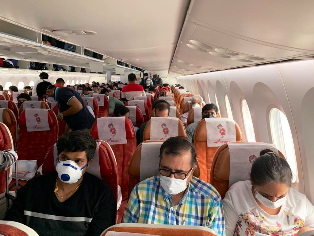 Indians being repatriated on one of the flights from Singapore as part of the government's Vande Bharat Mission. Photo courtesy: Twitter/@IndiainSingapor