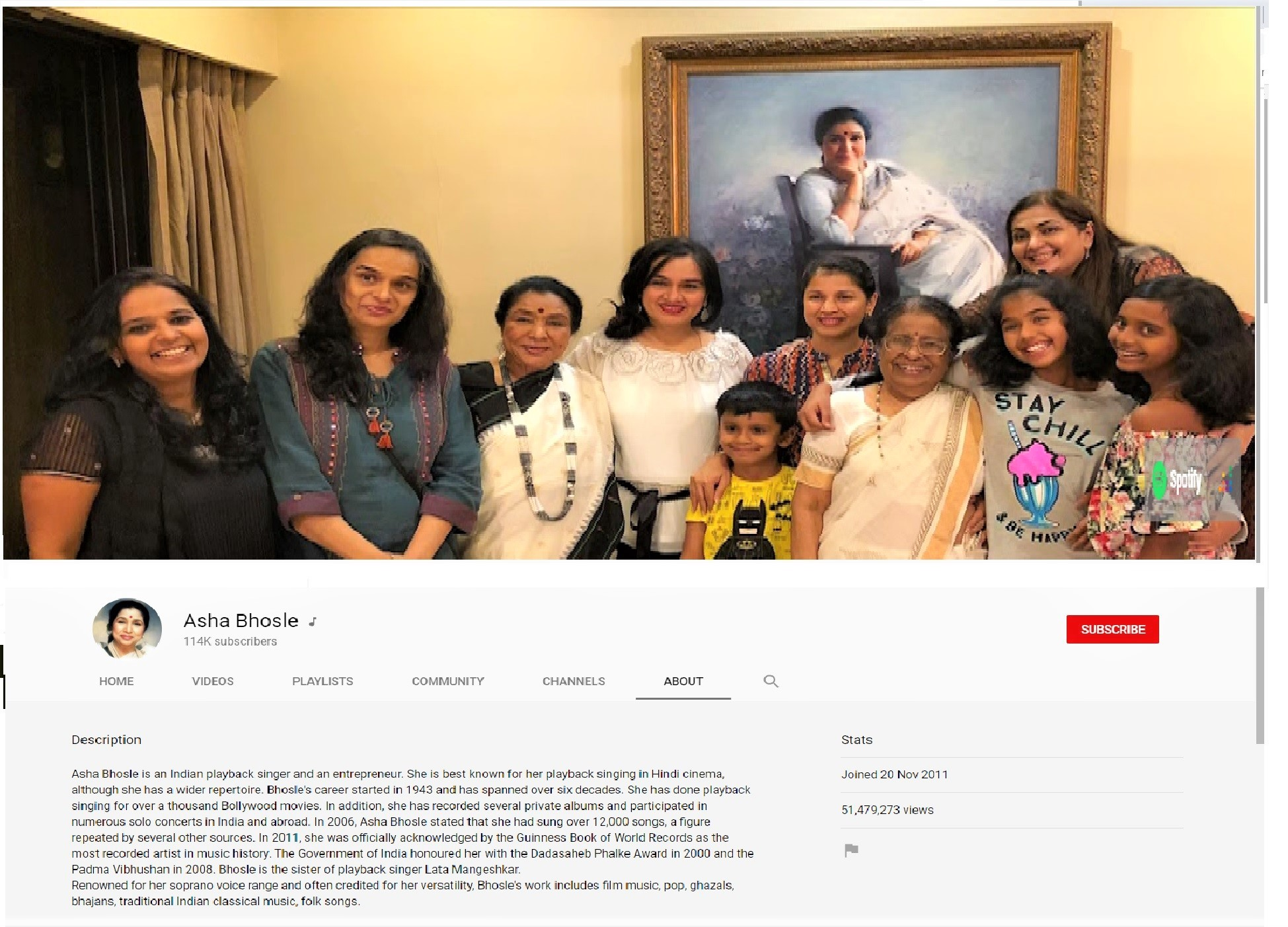 Screengrab of Asha Bhosle's newly launched YouTube Channel
