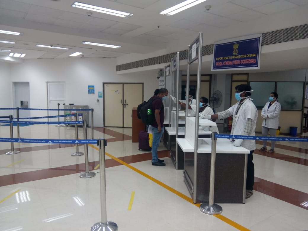 Screening underway at Chennai Airport of all passengers arriving on repatriation flights. Photo courtesy: Twitter/@aaichnairport