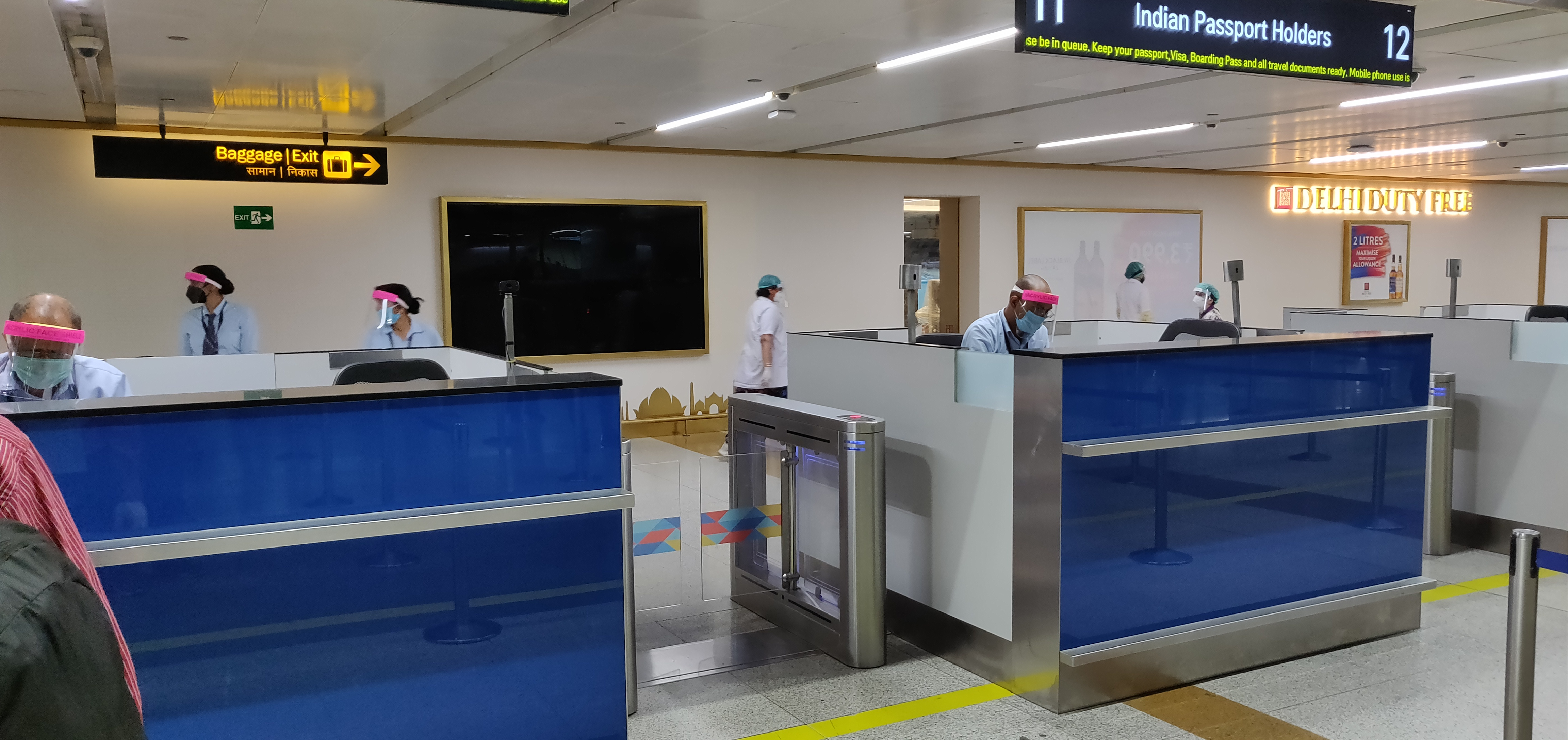 Th immigration counter at Indira Gandhi International Airport, New Delhi, where the evacuation flights are arriving. Photo: Connected to India